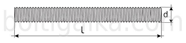 шпилька резьбовая DIN 975 чертеж